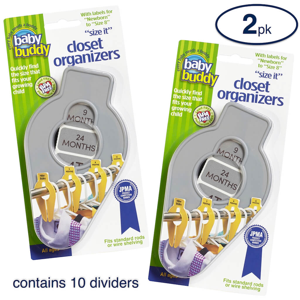 Closet Organizers 10ct Eliminate Morning Stress, Keep Your Growing Child's Closet Neat & Organized by Arranging Clothing by Size, Great New Baby New Mom Shower Gift, Incl Newborn-Size 8 Labels, GRAY