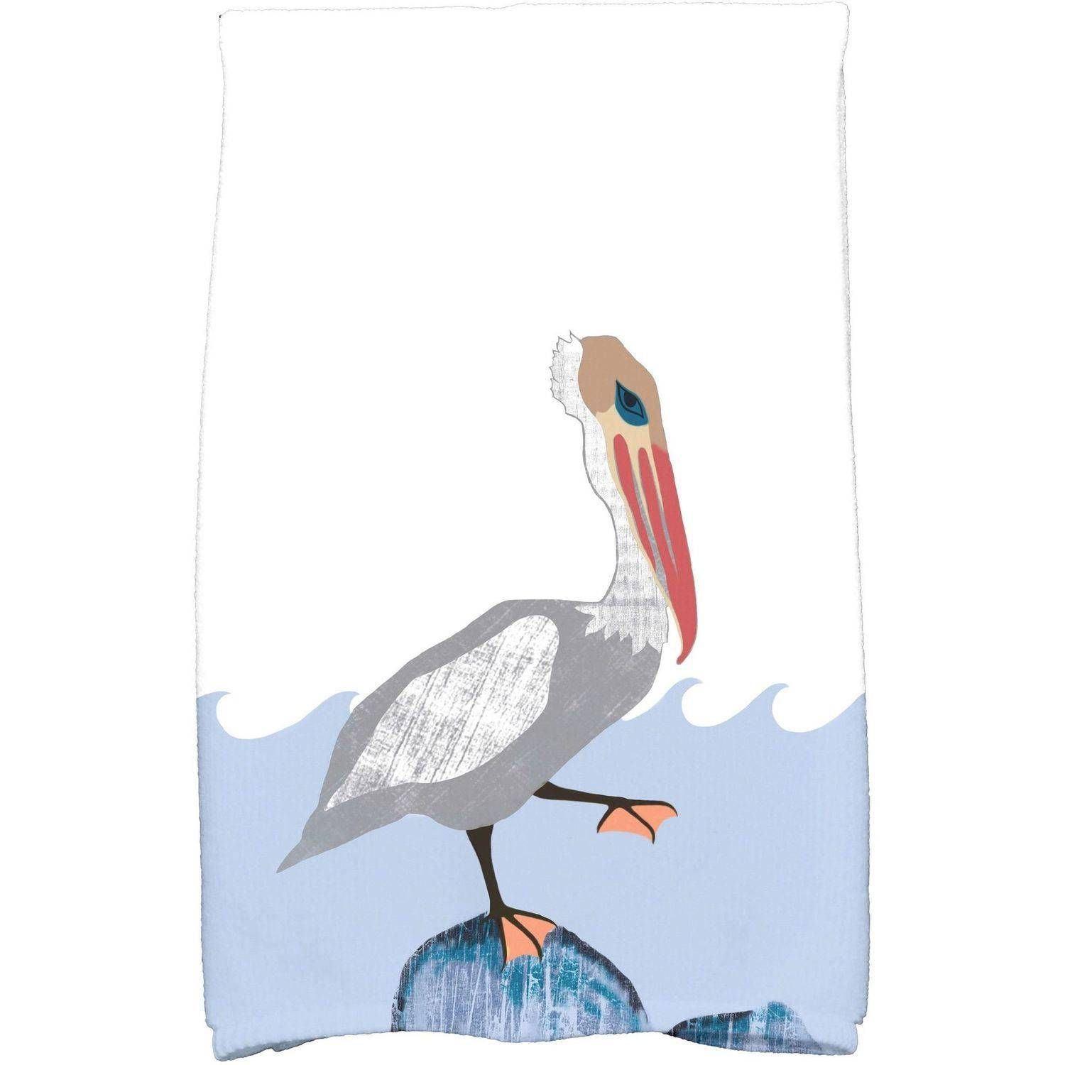 """Simply Daisy 16"""" x 25"""" Bird Wave Animal Print Kitchen Towel by E By Design"""