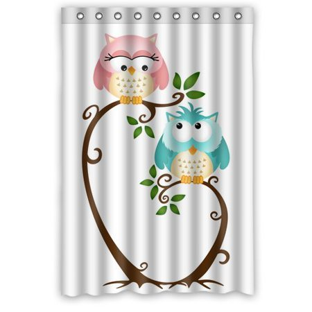 WOPOP Owl Shower Curtain 48x72 Inches