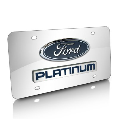 Ford F-150 Platinum Logo and Nameplate Chrome Steel License Plate