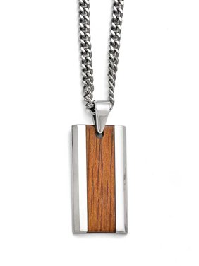 Stainless Steel Polished Red Orange Wood Inlay Enameled Necklace