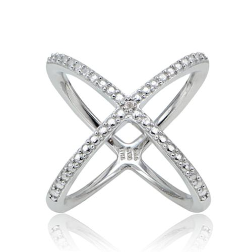 DB Designs  Diamond Accent Criss-cross 'X' Ring
