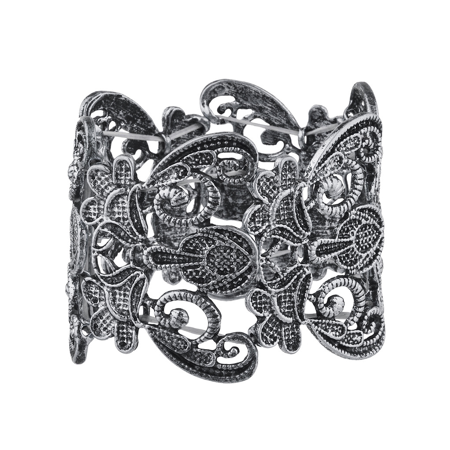 Lux Accessories Burish Silver Lace filigree Casted Stretch Boho Bracelet