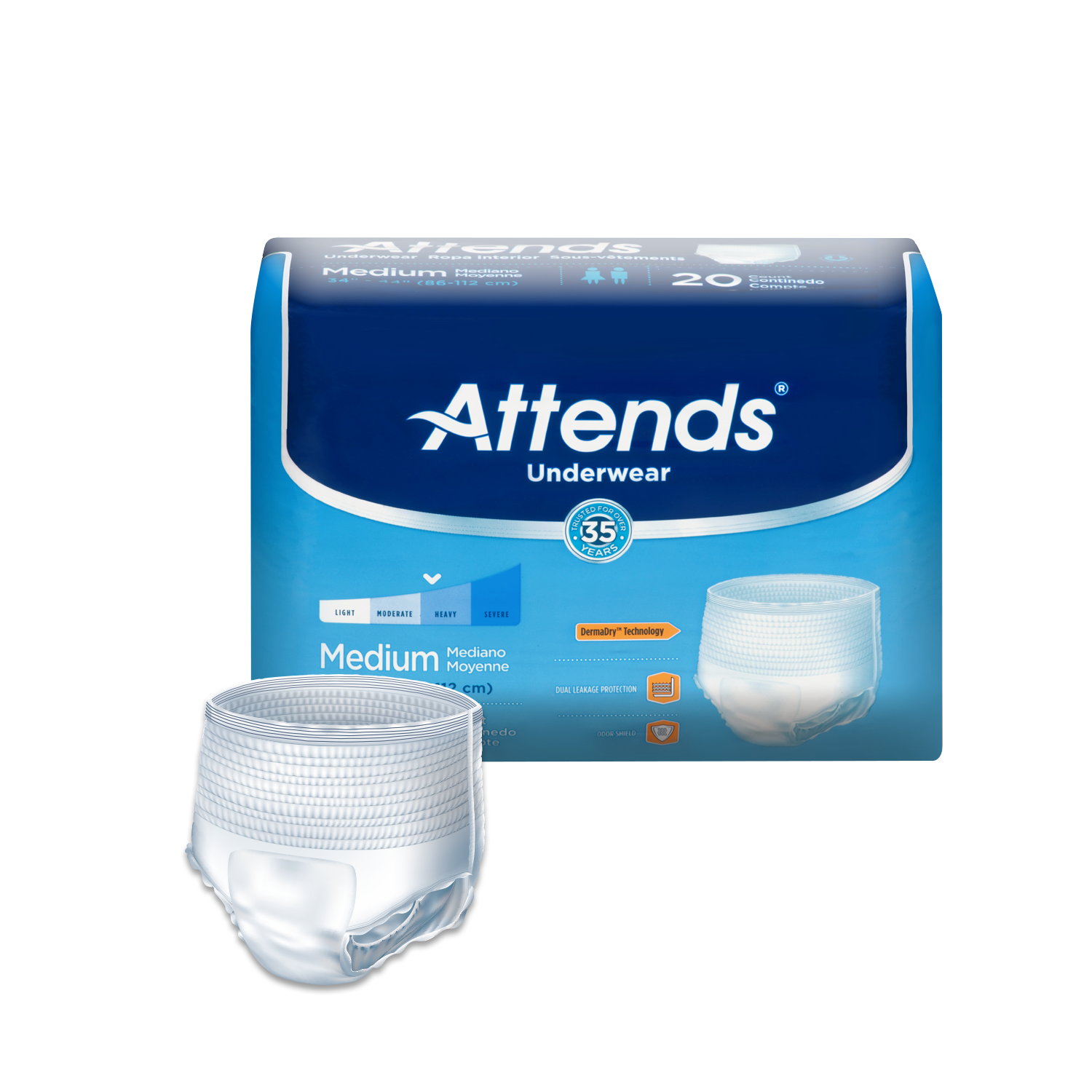 Attends Protective Underwear with DermaDry™ Technology for Adults Incontinence Care, Unisex (Choose Your Size)