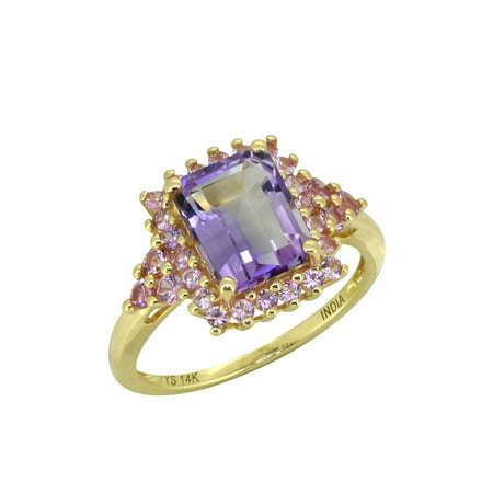 2.78 ct Pink Amethyst Sapphire Solid 14k Yellow Gold Ring Amethyst Pink Sapphire Ring