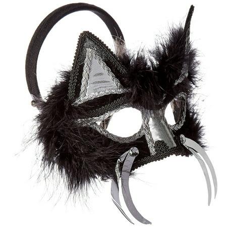 Adult Cat Mask (Cat Womens Black Fur Adult Masquerade Costume Animal)