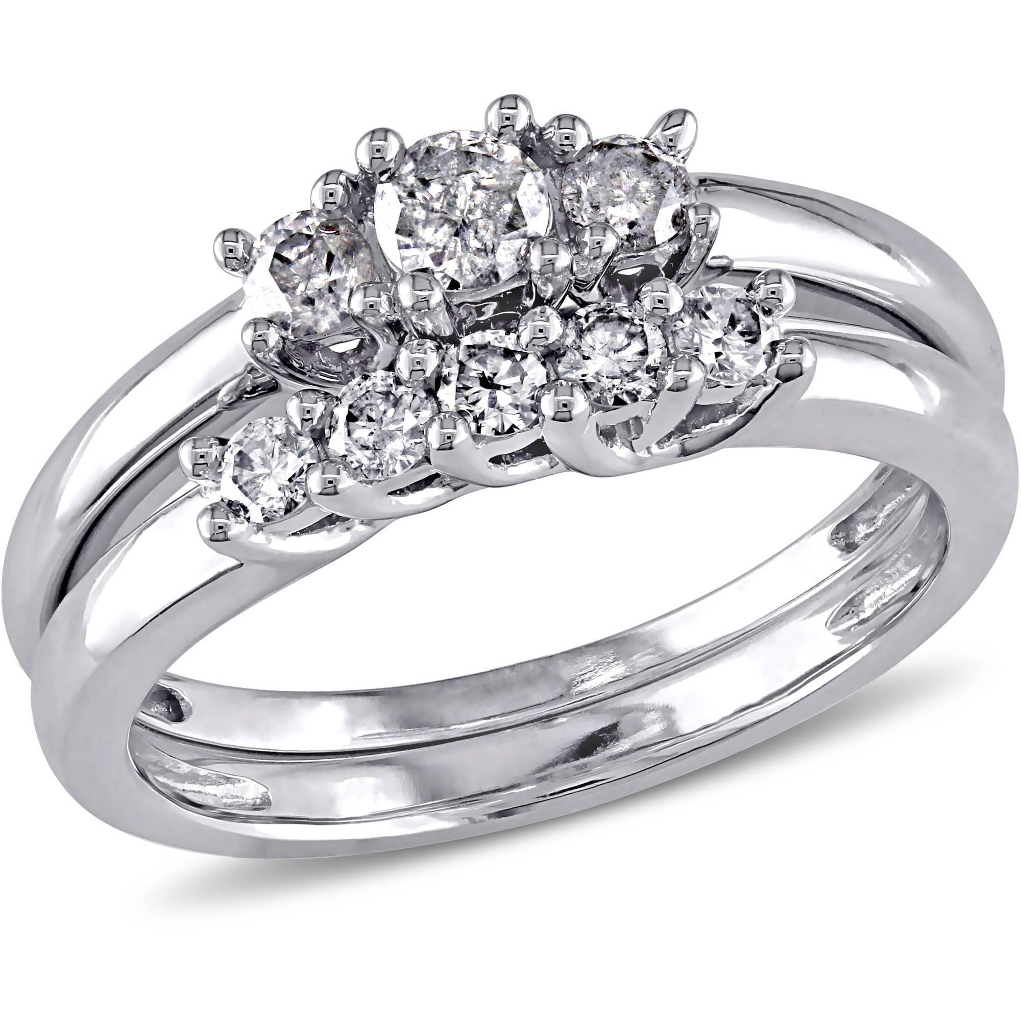 Miabella 2/5 Carat T.W. Diamond 10kt White Gold Three Stone Bridal Set