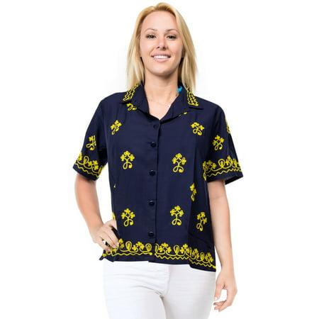 3e20dd36 HAPPY BAY Women's Beach hawaiian button down blouse casual tank top aloha  Shirt Navy Blue_X382