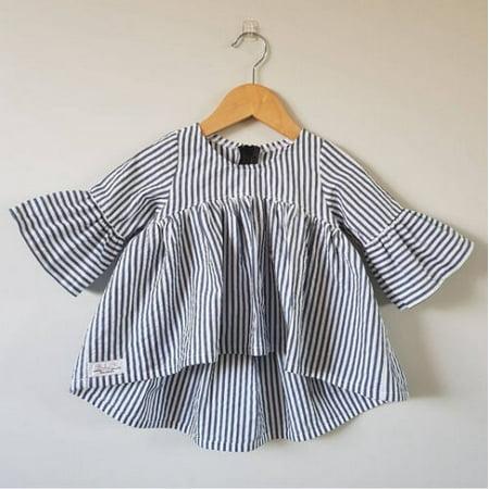 UK Stripe Newborn Baby Girls Tops T-shirt Outfits Tutu Dress Clothe 0-18M