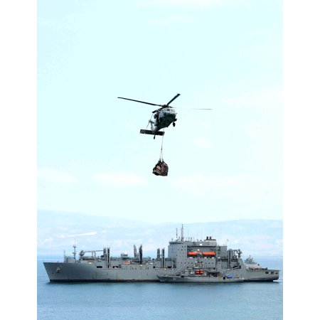 Military Sealift Command Ships - LAMINATED POSTER An MH-60S Sea Hawk departs the Military Sealift Command dry cargo/ammunition ship USNS Sacagawea to Poster Print 24 x 36
