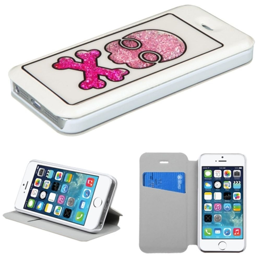 Insten Piano Keys Flip Leather Fabric Cover Case w/stand/card holder For Apple iPhone 5/5S/SE - Pink