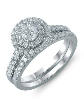 9f7c67b38 Product Image 14K White Gold 1 Carat Total Weight Genuine Diamond Halo Bridal  Ring Set