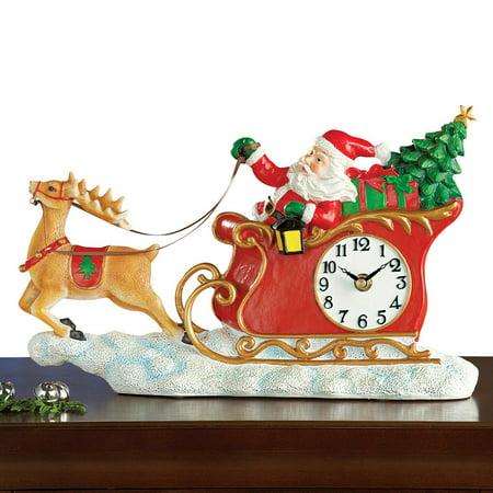 Santa In Sleigh Wall Clock Christmas - Christmas Clock