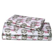 Renauraa 144 Thread Count 100% Cotton Percale Floral King Bed Sheet Set