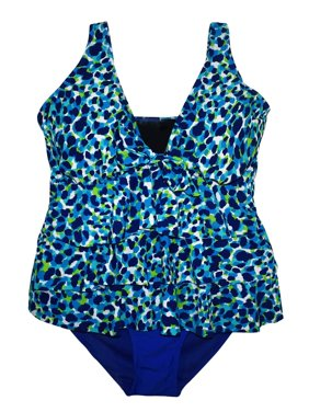 Simply Fit Women's Plus Size Tankini Bikini Swimsuit Set Tiered Ruffle 16-24