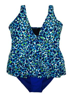 ab87f73eea Product Image Simply Fit Women s Plus Size Tankini Bikini Swimsuit Set  Tiered Ruffle 16-24