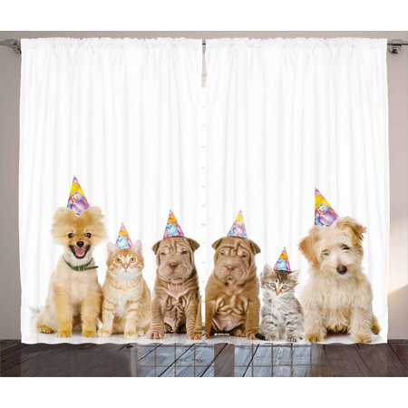 Birthday Decorations For Kids Curtains 2 Panels Set Shelter Dogs Terrier Cats With Cone Hats