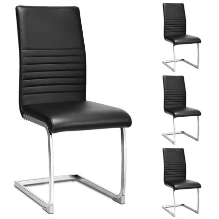 Gymax Set of 4 Kitchen Dining Chair High Back PU Leather with Chrome Metal  Base Black