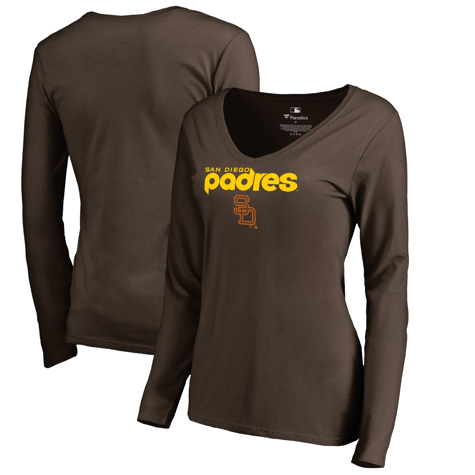 San Diego Padres Fanatics Branded Women's Cooperstown Collection Wahconah Long Sleeve V-Neck T-Shirt - Brown