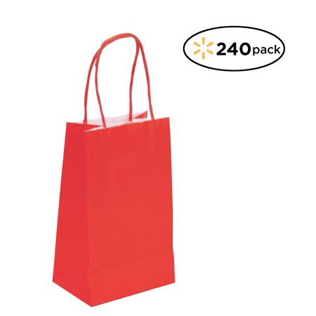 Red Gift Bags (240 Pack Small Red Kraft Bag, Gift bag, Biodegradable, FOOD SAFE INK & PAPER(STURDY & THICKER), Gift)