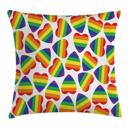 Pride Decorations Throw Pillow Cushion Cover, Cute Heart Shapes in LGBT Colors Striped Design Homosexuality Liberation, Decorative Square Accent Pillow Case, 16 X 16 Inches, Multicolor, by Ambesonne