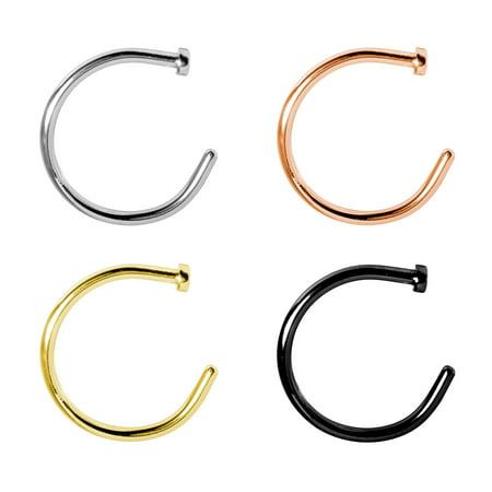 Nose Ring Hoop 18G Rose Goldtone 4 Pieces Body Jewelry