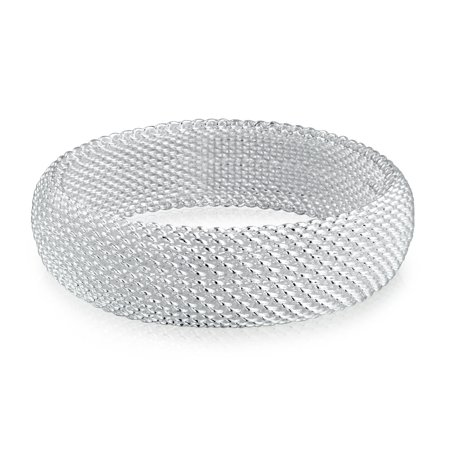 Dome Woven Weave Chin Link Mesh Bangle Bracelet For Women Silver Plated Brass