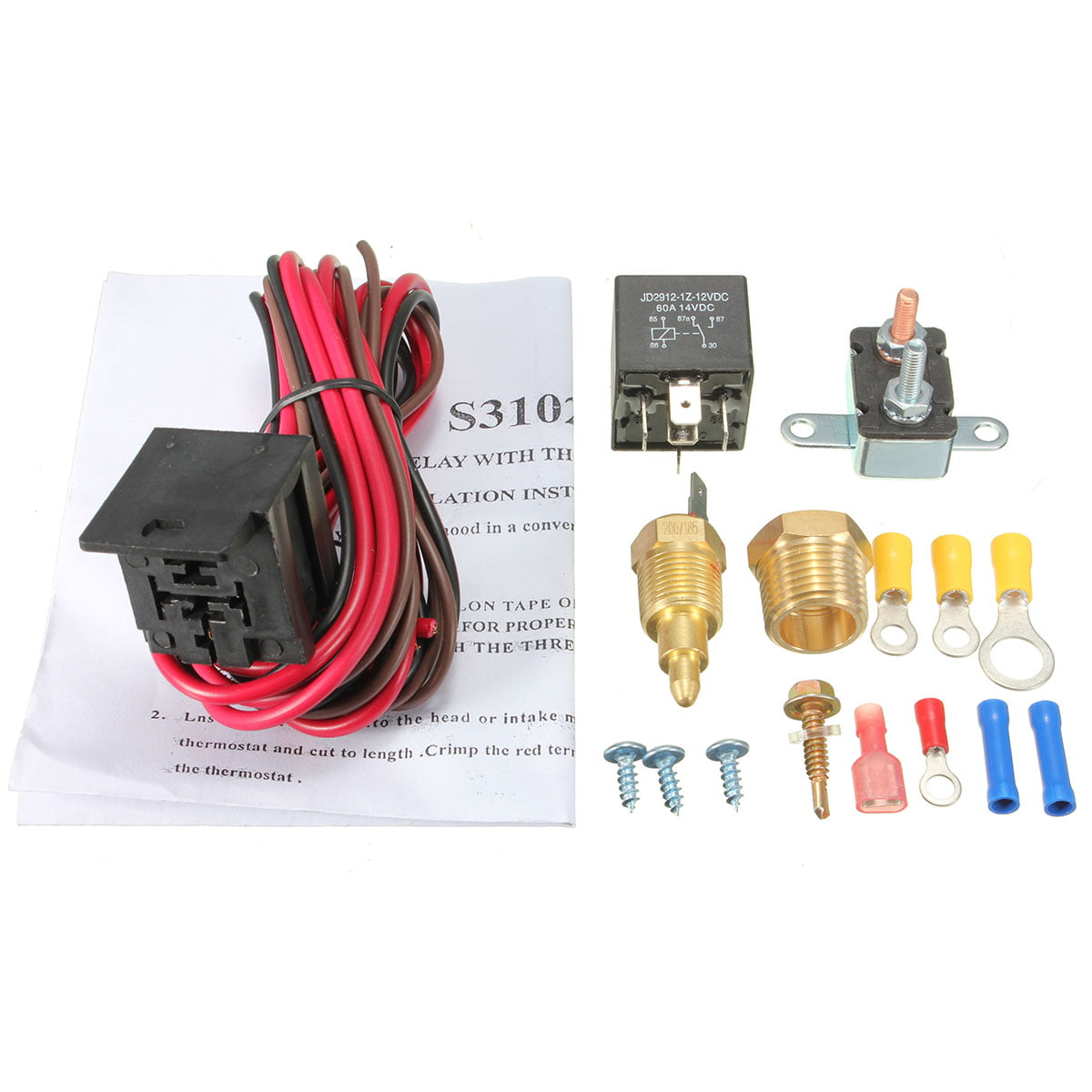 Matcc Fan Thermostat Temperature Switch 185200 Degree Engine Coolant Cooling Sensor Relay Set