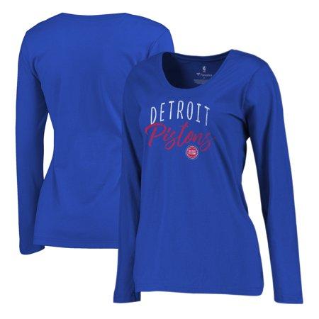 Detroit Pistons Fanatics Branded Women's Graceful Long Sleeve Plus Size T-Shirt - Royal Vintage Detroit Pistons
