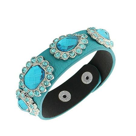 - Faux Blue Leather Silver-Tone CZ Snap Wristband Womens Bangle Bracelet