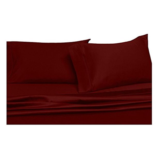 Solid Burgundy Queen Size Sheets, 4PC Bed Sheet Set, 100% Cotton