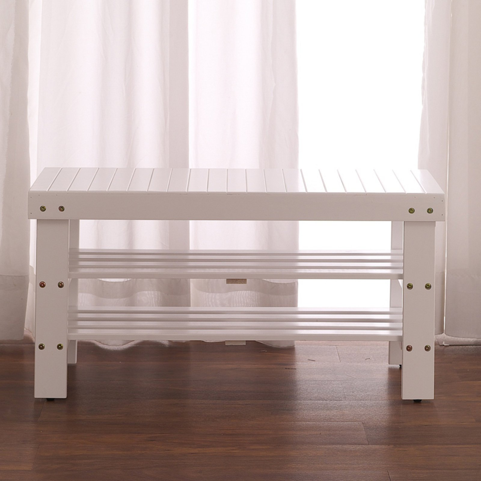 Roundhill Pina Solid Wood Storage Shoe Bench, Multiple Colors
