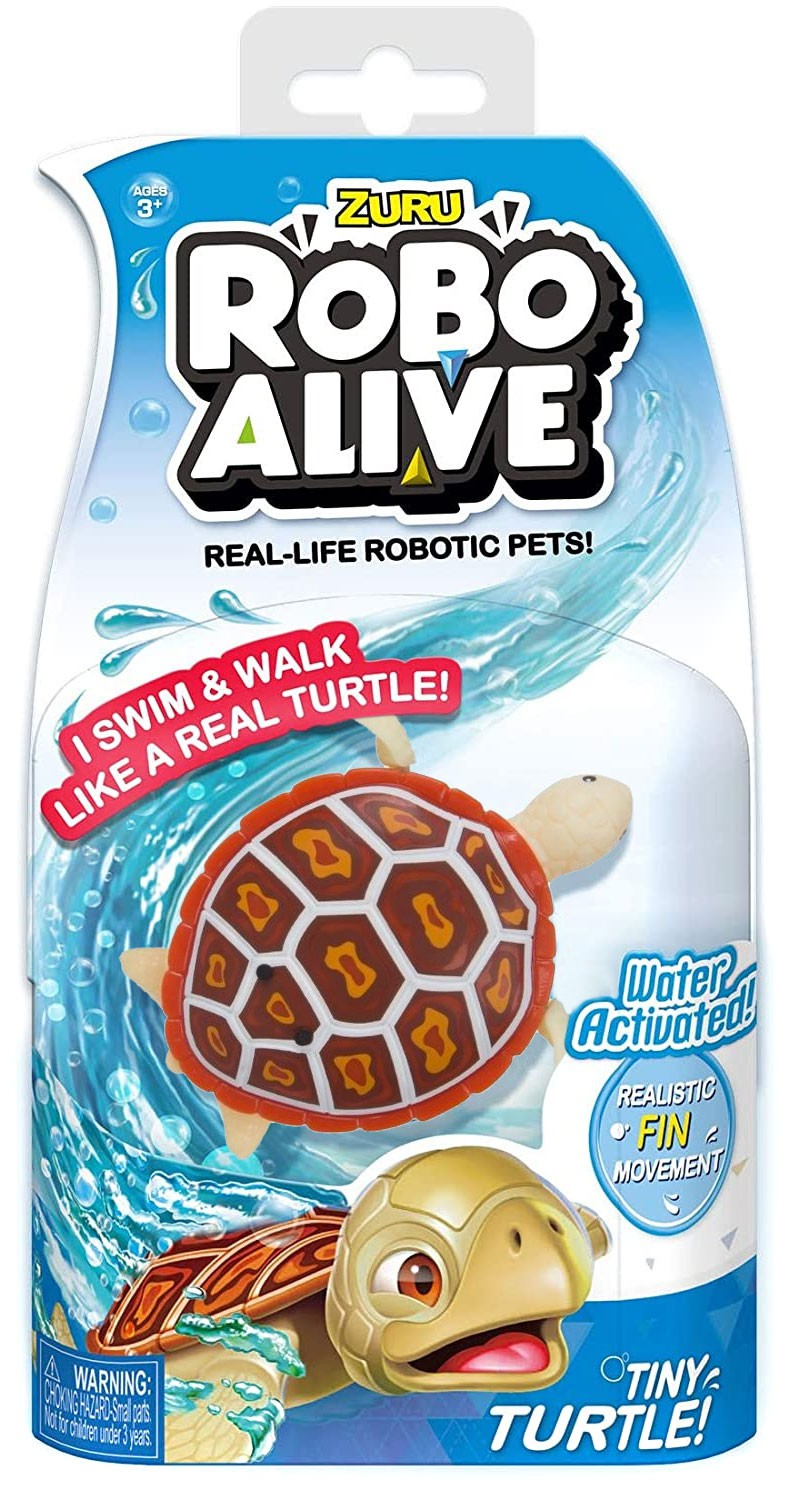 Robo Alive Tiny Turtle Red Wood Turtle Robotic Pet Figure ...