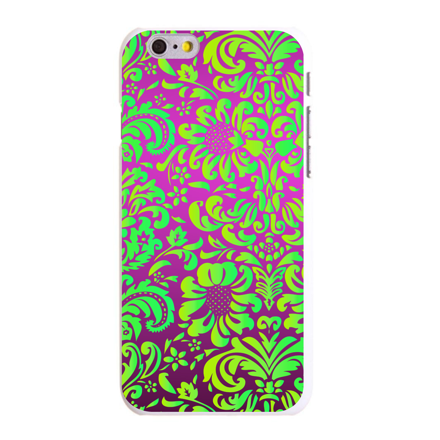 """CUSTOM White Hard Plastic Snap-On Case for Apple iPhone 6 / 6S (4.7"""" Screen) - Purple Green Floral Pattern"""