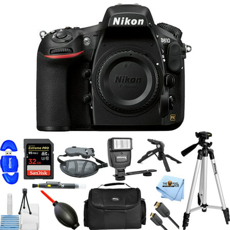 Pro Dslr Body (Nikon D810 DSLR Camera (Body Only) 1542 Pro Bundle with 32GB, Flash, Tripods, Gadget Bag, HDMI Cable and More )