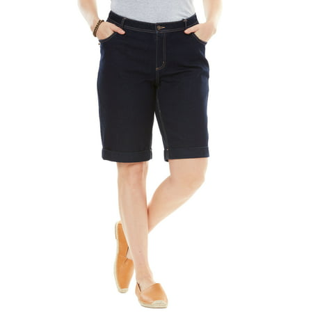 Woman Within Plus Size Stretch Jean Bermuda Short Shorts