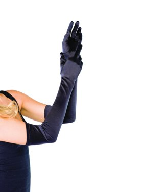 Women's Long Satin Gloves, White, One Size
