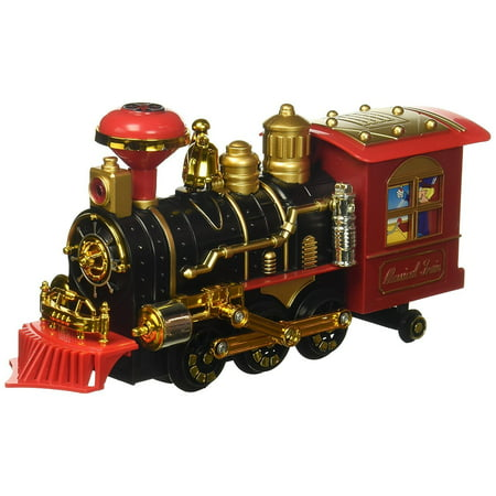 Cool Classical Locomotive Battery Operated Bump and Go Toy Train w/ Smoking Action, Real Train Horn, Working Headlight (Colors May Vary) Cool Train, Realistic Train, Classic Toy, Bump and Go Action (Real Good Toys)