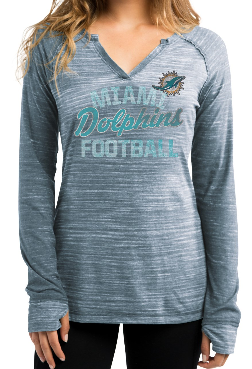 """Miami Dolphins Women's Majestic NFL """"Lead Play 2"""" Long Sleeve Shirt by Majestic"""