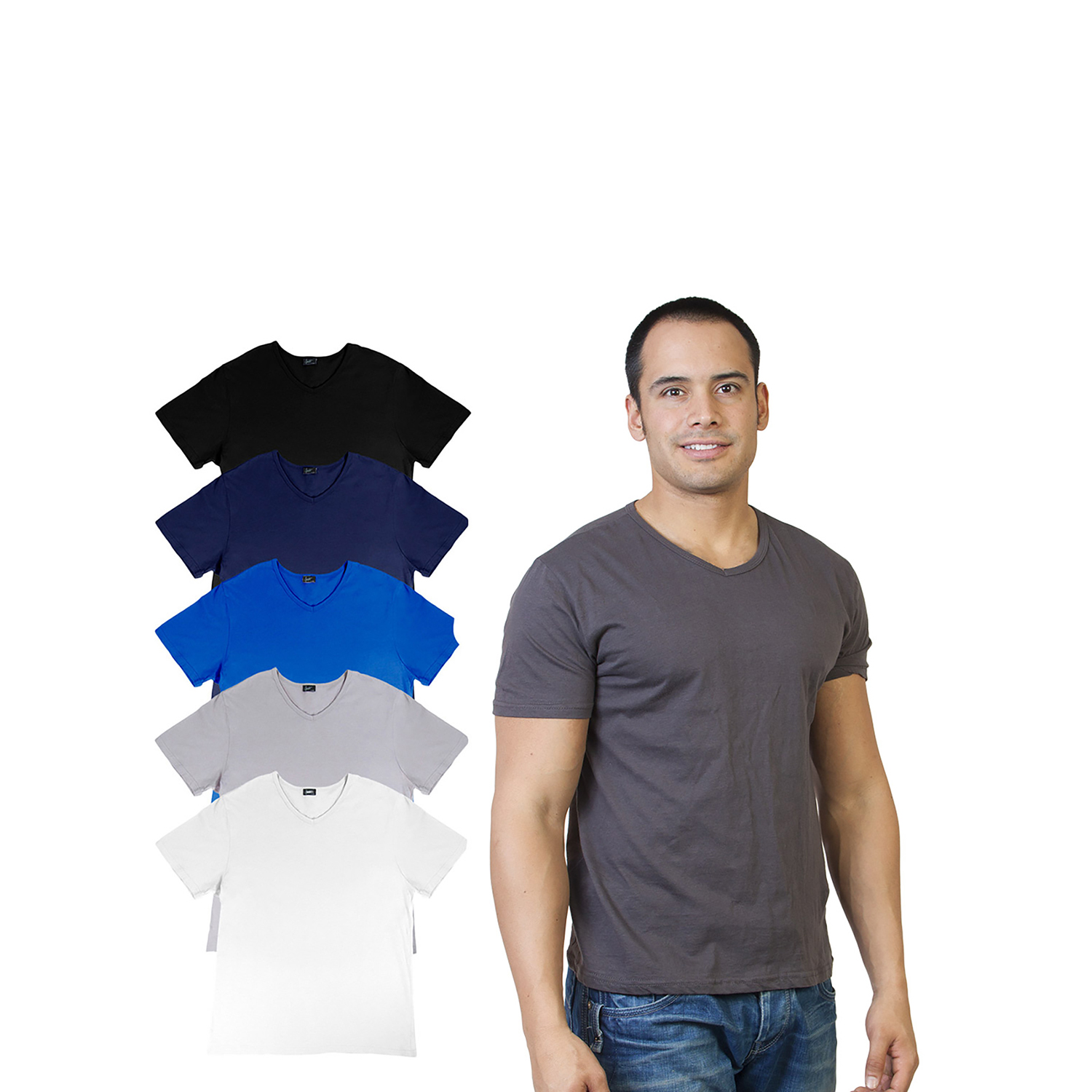 Men's Agiato Basic V Neck T-Shirt 6-Pack Multicolor XXLarge