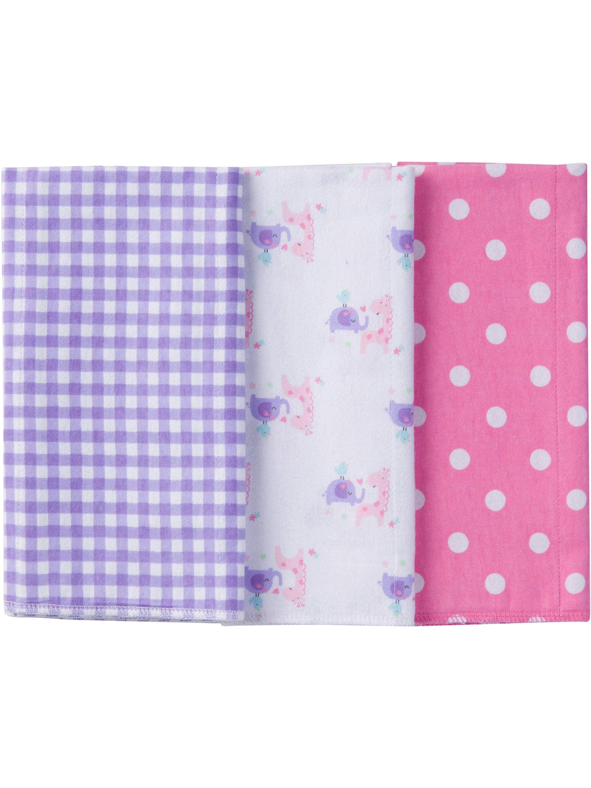 Gerber Newborn Baby Girl Assorted Flannel Burp Cloths, 3-Pack