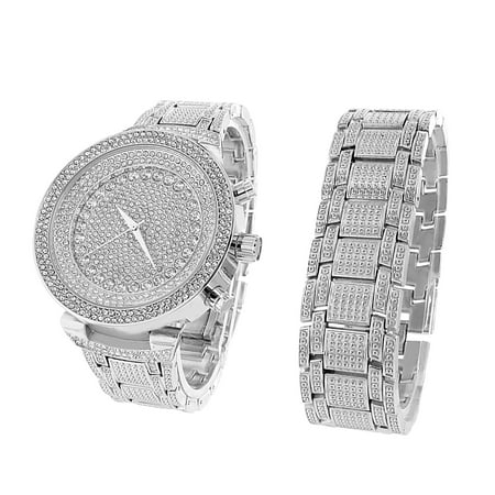 Iced Out Silver Finish Watch Bracelet Set Mens Simulated Diamonds Brand New On Sale