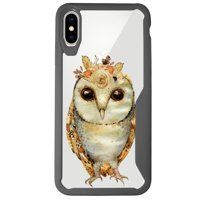 """MINITURTLE Case Compatible with Apple iPhone XS MAX 6.5"""" (2018 Edition) [ARMOR FLEX SERIES] Flowery Case with Gray Bumper and Clear Back - Floral Owl"""