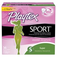 Playtex Sport, Plastic Tampons, Super,Unscented, 36 Ct