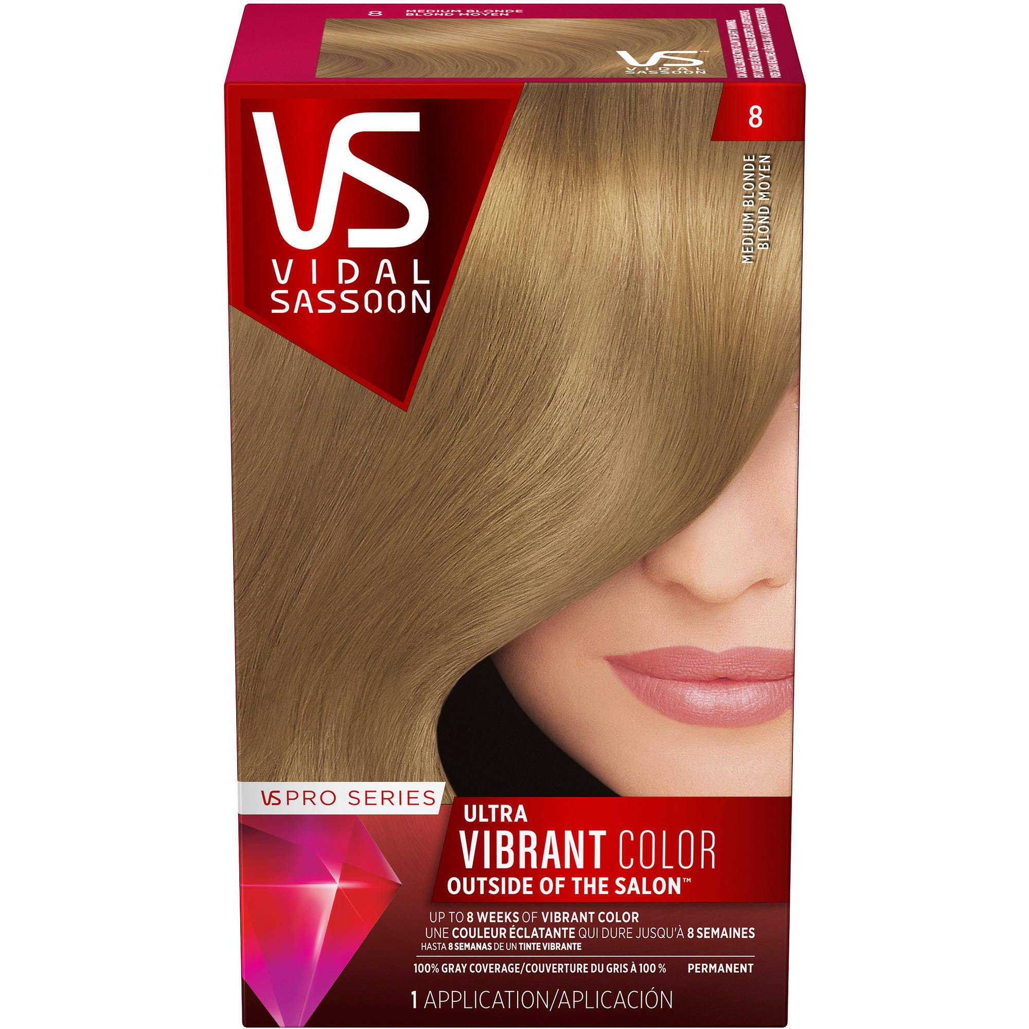 Vidal Sassoon Pro Series Hair Color 8 Medium Blonde 1 Kit Walmart