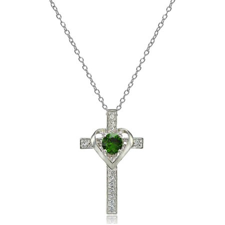 Created Emerald Cross - Sterling Silver Created Emerald & White Topaz Heart in Cross Necklace
