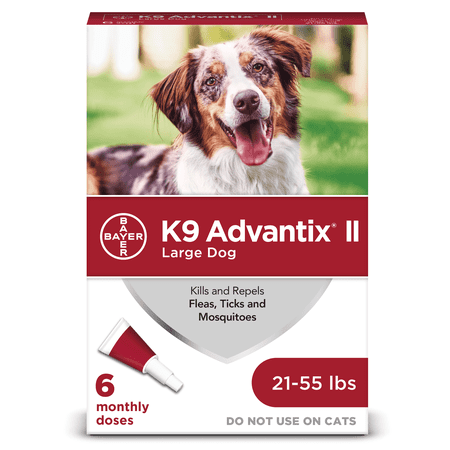 K9 Advantix II Flea and Tick Treatment for Large Dogs, 6 Monthly