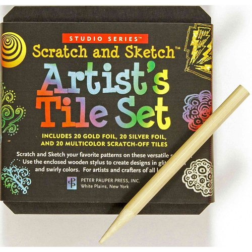 Studio Series Artist's Tiles Scratch & Sketch: 20 Gold Foil, 20 Silver Foil, 20 Swirly Colored Scratch-off Tiles