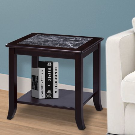 Granrest Marble Side Table Storage Shelf Black
