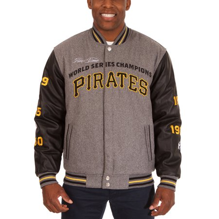 Pittsburgh Pirates JH Design MLB Reversible Commemorative Melton Jacket - Heathered Gray